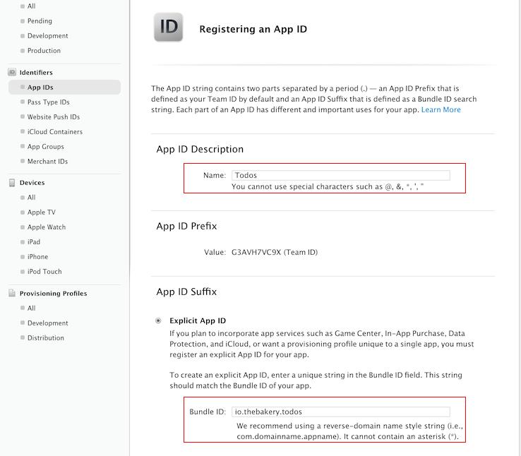 Apple Developer portal app details