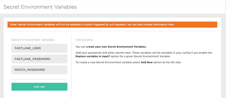 Bitrise secret environment variables