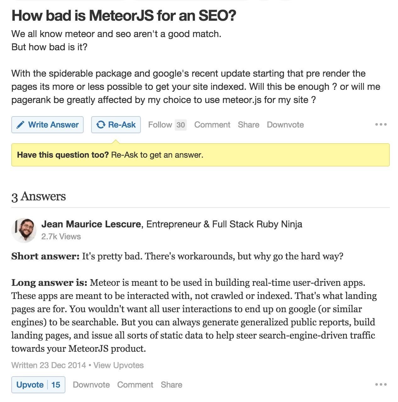 Meteor SEO on Quora